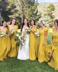 Trend alert! Jenny Yoo Collection 2018 Bridesmaids, The Alanna dress features flutter sleeves that create a romantic, delicate silhouette. This long chartruese / merigold / mustard yellow chiffon bridal party dress is perfect for a summer, spring or fall boho chic wedding. The soft flutter also lines the dramatic open back. The natural waist seam draws attention to the waist. The full skirt has an above knee slit, creating a romantic billow. This dress is fully lined & has a center back zipp Bridal Musings, Mustard Bridesmaid Dresses, Yellow Bridesmaid Dresses, Yellow Dress Wedding, Mustard Wedding Theme, Bohemian Bridesmaid Dresses, Mustard Yellow Wedding, Bridal Party Dresses, Wedding Dresses