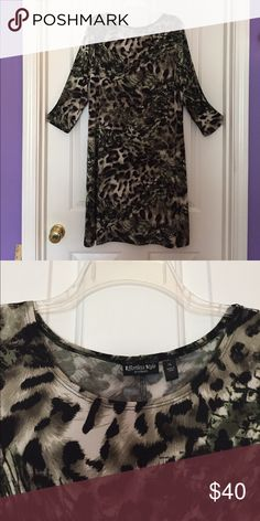 """Ladies XL Animal Pattern Dress. Never worn. Shift style scoop neck ladies """"Effortless Style"""" by Citiknits.  Animal Pattern material with 3/4 length sleeves. Dress up or casual. Simple design, yet classy. Effortless Style Dresses"""