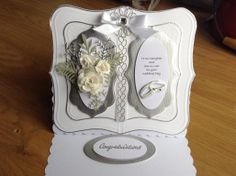 Wedding card using Glitter Girls embossing board and Spellbinders dies, also memory box and marrianne dies