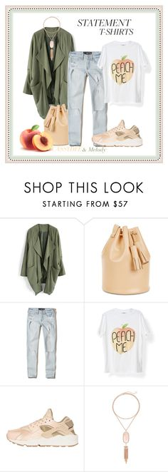 """""""#statementtshirt -Peach me-"""" by cassydee ❤ liked on Polyvore featuring Chicwish, Hollister Co., NIKE, Kendra Scott and statementtshirt"""