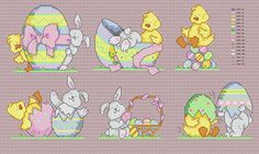 Maria Diaz Designs: Easter Chick and Bunny (Cross-stitch chart)