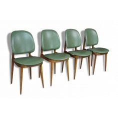6 chaises vintage pierre guariche vintage 1950 1960 simili cuir