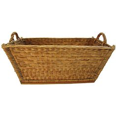 Pre-Owned 1940s French Willow/Wicker Market Basket ($349) ❤ liked on Polyvore featuring home, home decor, small item storage, decorative accessories, brown boxes, handmade box, willow basket, brown bowl and handmade baskets