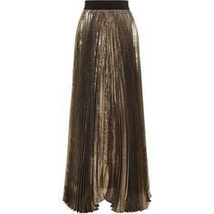 Alice + Olivia Katz plissé silk-blend lamé maxi skirt (€475) ❤ liked on Polyvore featuring skirts, gold, alice olivia skirt, lame skirt, pleated skirt, floor length skirts and maxi skirts