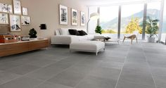 Grey full bodied rectified concrete effect floor tile
