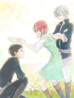 Love this manga! Akagami no Shirayuki-hime - Snow White with the Red Hair - Obi, Shirayuki, and Zen Anime Gifs, Me Anime, I Love Anime, Kawaii Anime, Manga Anime, Anime Art, Anime Stuff, Zen Wisteria, Howl's Moving Castle
