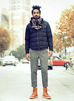 ダウンジャケット×ウールパンツ | No:67763 | メンズファッションスナップ フリーク - 男の着こなし術は見て学べ。