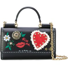 Dolce & Gabbana mini Von bag with painted style details ($1,320) ❤ liked on Polyvore featuring bags, handbags, shoulder bags, black, mini shoulder bag, chain shoulder bag, crossbody shoulder bag, genuine leather shoulder bag and mini crossbody