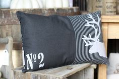 Kissen mit Füllung Hirsch schwarz - weiß 001