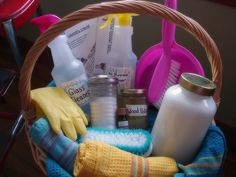 green cleaning gift basket--homemade cleaning products with laminated recipe cards for each product.