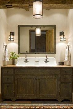 Modern Rustic Bathroom Design Ideas, Pictures, Remodel and Decor Rustic Bathroom Designs, Rustic Bathroom Vanities, Rustic Bathrooms, Rustic Vanity, Bathroom Ideas, Wood Vanity, Vanity Sink, Pink Vanity, Industrial Bathroom