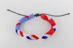 Bracelets, Beaded Crochet, Red White Blue, Seed Beads, Flag, Handmade Gifts, Unique Jewelry, Bracelet, Arm Bracelets