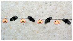 tutorial: miniature Halloween bat and pumpkin head bunting