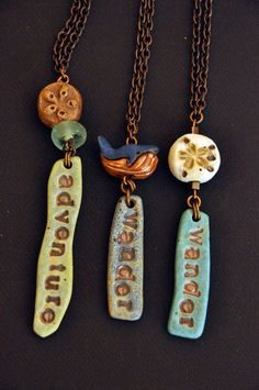 Items similar to Whispering Sea Necklaces - Inspirational Words Summer Spring Beach Sea Coastal Fashion 2015 Trends OOAK Below 50 Teenager Gift Earth Tones on Etsy Ceramic Pendant, Ceramic Jewelry, Ceramic Beads, Polymer Clay Projects, Polymer Clay Creations, Handmade Polymer Clay, Polymer Clay Tutorials, Polymer Clay Necklace, Polymer Clay Pendant
