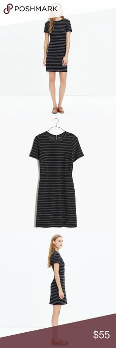 Madewell Striped Upstage Dress One small spot (see picture). Otherwise, in great condition. A lean, sexy short-sleeve dress in stretchy textural jacquard. In yarn-dyed stripes, it's like a favorite tee that can go out on the town. Madewell Dresses