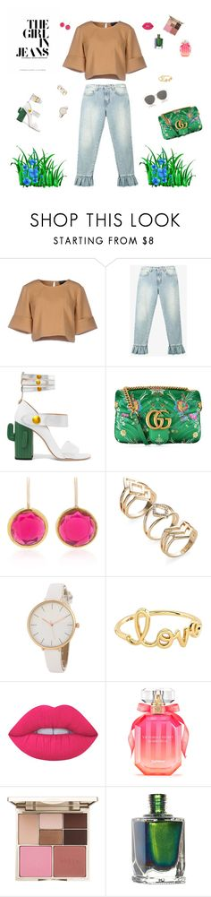 """""""The girl in jeans"""" by mariagraziatrotta ❤ liked on Polyvore featuring The Fifth Label, MSGM, MR by Man Repeller, Gucci, Sydney Evan, Lime Crime, Victoria's Secret, Stila and Christian Dior"""