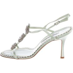 Pre-owned Manolo Blahnik Embellished Satin Slingback Sandals ($145) ❤ liked on Polyvore featuring shoes, sandals, green, embellished sandals, green sandals, satin shoes, buckle shoes and green satin shoes