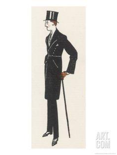 Gentleman in Evening Dress and a Topcoat Similar to a Frock Coat with a Seam at the Waist Giclee Print by Bernard Boutet De Monvel at Art.com