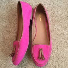 ADORABLE PINK FLATS W TASSLE SIZE 11 These flats have been worn one time and are in excellent condition.   They are a pink faux suede, size 11.  30% Discount only when you buy 2 or more items. Merona Shoes Flats & Loafers