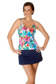 Caribbean Joe Swimwear Women's Ruffle Tankini Top. Color honey bunch print. This floral swim suit top has padded cups and a shelf bra. Mix and match bathing suits. Each piece is sold separately. Style # 862690. Caribbean Joe Swimwear Women's Ruffle Tankini Top.