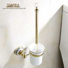 >> Click to Buy << Free Shipping Luxury Golden Toilet Brush Holder with Ceramic cup/ household products Bath Decoration Bathroom accessories  #Affiliate
