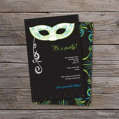 Black Masquerade Ball Party Invitations | Vistaprint