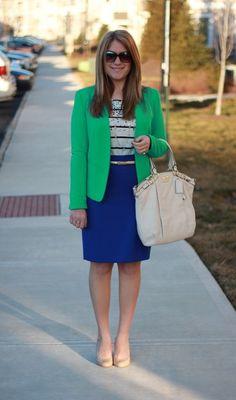 Green blazer and cobalt skirt. Modest fashion