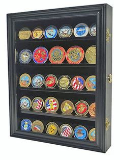 LOCKABLE 30 Military Challenge Coin Poker Chip Display Case Shadow Box Solid Wood -- You can find out more details at the link of the image. Challenge Coin Display Case, Medal Rack, Military Shadow Box, Military Crafts, Military Challenge Coins, Mini, Antique Coins, Shadow Box Frames, Poker Chips