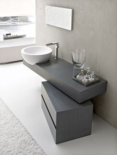 Bathroom: Gray Contemporary Bathroom Vanity Ideas With White Marble Wash Bowl And White Fur Rug: Bathroom Vanity Ideas for Small Bathrooms Design
