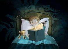 Uf! No puedo ni respirar con este libro de monstruos… Terror imaginativo y lector (ilustración de Francesco Ghersina)