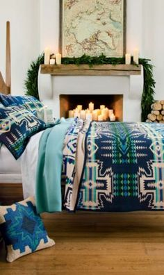 "North Star Blanket Collection- teal, baby blue, navy and white tribal bed set. It would be fun to have walls neutral enough to have a ""blue room"". Dream Bedroom, Home Bedroom, Bedroom Decor, Winter Bedroom, Bedrooms, Bedroom Ideas, Bedding Collections, Home Collections, My New Room"