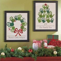 Handprint Christmas wall hangings. Wreath and Christmas tree