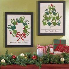 Handprint Christmas wall hangings. Wreath and Christmas tree