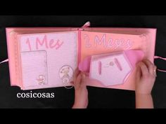 "Scrapbooking :Álbum recien nacido ""niña"" - YouTube Mini Albums, Mini Scrapbook Albums, Baby Scrapbook, Explosion Box, Mini Books, Lunch Box, Childhood, Photos, Baby Shower"