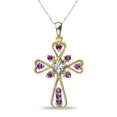 Ladies .06CT Diamond Cross Pendant with Ruby in 10k Yellow Gold #NissoniJewelry #Pendant