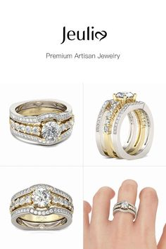 Wedding Ring Set For Women Round Cut Diamond White Jeulia Stone Sterling Silver Emerald Ring Gold, White Sapphire, Cheap Silver Rings, Cheap Engagement Rings, Resin Jewelry, Jewlery, Silver Pendant Necklace, Round Cut Diamond, Artisan Jewelry