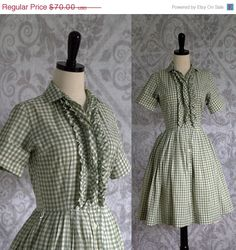 1950s Green Gingham Dress  by SassySisterVintage $54