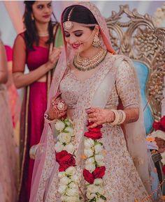 9 New Bridal Lehenga Colors For The 2018 Bride! Indian Bridal Outfits, Indian Bridal Lehenga, Indian Dresses, Bridal Dresses, Indian Bridal Wear, Bridal Poses, Bridal Photoshoot, Bridal Portraits, Desi Wedding
