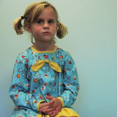 long sleeve girls  dress of blue floral  bow by SchoolHouseFrock, $60.00