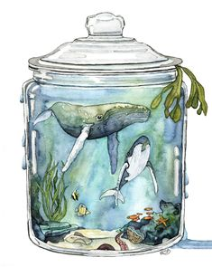 """Bottled Ocean Watercolor Painting, Whale, Whale Painting, Whale Art, Ocean Art, Watercolor Painting, Sea -Print titled, """"Containing the Sea"""" by TheColorfulCatStudio on Etsy https://www.etsy.com/listing/597396183/bottled-ocean-watercolor-painting-whale"""