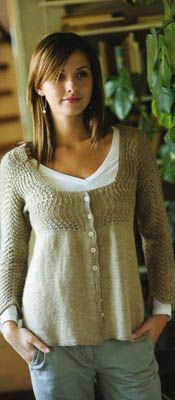 Classic Elite Soft Linen Feather and Fan Cardigan