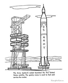 Saturn V Rocket picture and coloring pages for kid 124