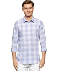 CALVIN KLEIN Calvin Klein Men's Cool Tech Plaid Dobby Shirt. #calvinklein #cloth #down shirts