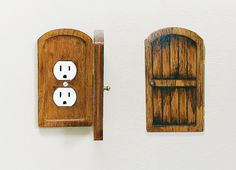 Handmade Wooden Rustic Outlet Cover Door Fairy - inspiration only