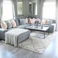 New living room grey couch sectional Ideas Living Room Decor Cozy, New Living Room, Interior Design Living Room, Home And Living, Living Room Ideas With Grey Couch, Grey Living Room Furniture, Black White And Grey Living Room, Cozy Living, Sectional Furniture