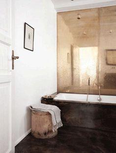 copper mirror wall in a bathroom by Norm Architects in Copenhagen Bad Inspiration, Bathroom Inspiration, Interior Design Inspiration, Furniture Inspiration, Interior Ideas, Bathroom Interior, Bathroom Wall, Copper Bathroom, Bathroom Ideas
