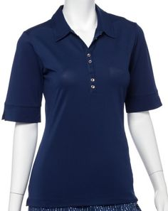 If you're in the market for some new outfits, consider our women's apparel! Shop this comfortable and stylish SILVER STREAK (Inky) EP New York Ladies & Plus Size Elbow Sleeve Golf Polo Shirt from Lori's Golf Shoppe.