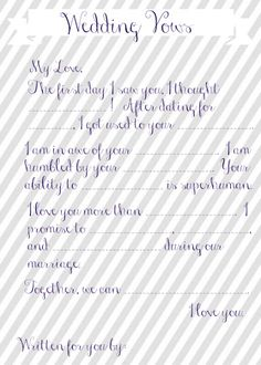 Bridal Shower Wedding Vow Mad Libs {April from House by Hoff} – Rain on a Tin Roof