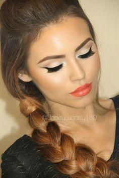GORGEOUS Orange Crush makeup look with LimeCrime My Beautiful Rocket lipstick. Stunning!
