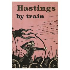 Hastings By train vintage travel poster Wood Poster